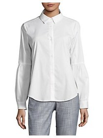 Calvin Klein Pleat-Sleeve Button-Down Shirt SOFT W