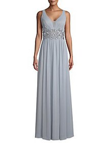 Betsy & Adam Embellished Floral Gown BLUE