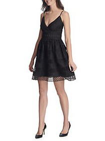 Guess Lace Fit-&-Flare Dress BLACK