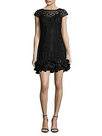 Guess Lace Floral-Ruffle Hem Mini Dress BLACK