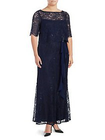 Brianna Plus Short Sleeve Lace Overlay Dress NAVY