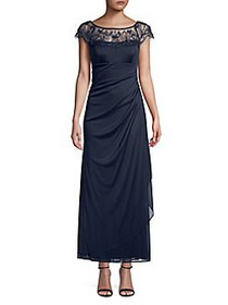 Xscape Petite Lace Side Ruched Gown NAVY