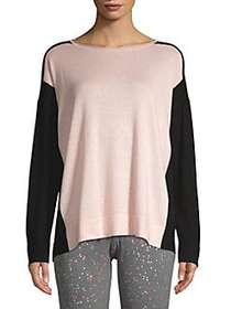 Donna Karan Colorblock Knit Crewneck Sweater LILAC