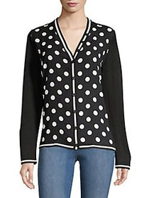 Anne Klein Polka Dot V-Neck Cardigan BLACK