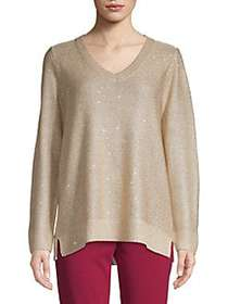 Calvin Klein V-Neck Sequined Sweater HEATHER LATTE
