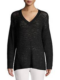 Calvin Klein V-Neck Pointelle Panel Sweater BLACK