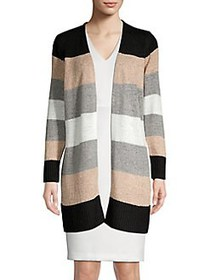 Calvin Klein Knit Colorblock Cardigan LATTE STRIPE