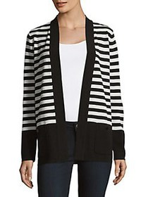 Anne Klein Malibu Striped Cardigan BLACK WHITE