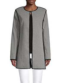 Donna Karan Houndstooth Long-Sleeve Jacket BLACK W
