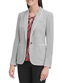 Tommy Hilfiger Trimmed One Button Blazer GREY