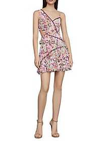BCBGMAXAZRIA Floral Ruffle Dress BOTANICAL PURPLE