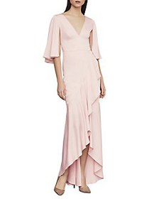 BCBGMAXAZRIA Satin Asymmetric Ruffle Gown LIGHT SH