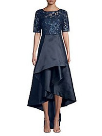 Adrianna Papell Sequin Lace Dress MIDNIGHT