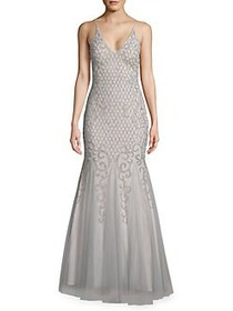 Xscape Deep V-neck Beaded Gown GREY SILVER
