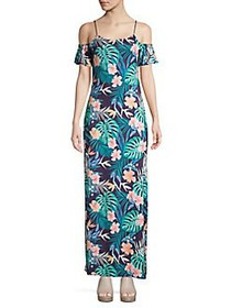 QUIZ Floral Maxi Sheath Dress BLUE MULTI