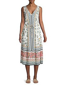Lucky Brand Floral V-Neck Midi Dress WHITE MULTI