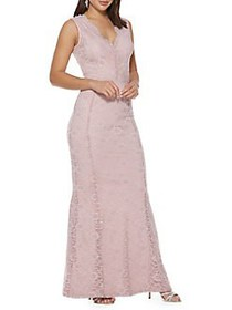 QUIZ Sleeveless Lace Gown PINK