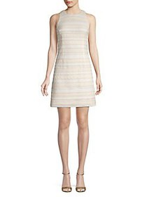 Eliza J Crocheted Lace Shift Dress TAN WHITE