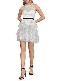 BCBGMAXAZRIA Halter Fit-&-Flare Dress OFF WHITE