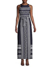 Gabby Skye Printed Maxi Dress NAVY