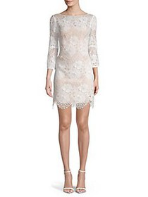 Vince Camuto Lace Cotton Blend Dress IVORY