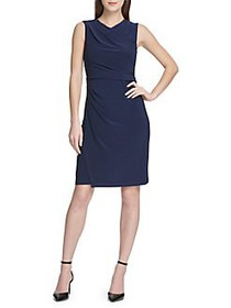 Donna Karan Ruched Faux Wrap Sheath Dress MIDNIGHT