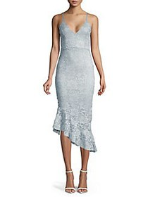 QUIZ Sleeveless Asymmetrical Lace Dress GREY