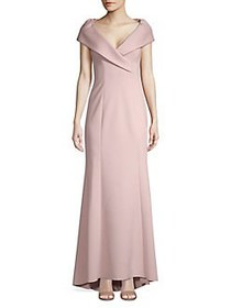 Eliza J High-Low Portrait Collar Gown BLUSH