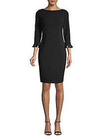 Calvin Klein Three-Quarter Sheath Dress BLACK