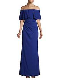 Vince Camuto Off-The-Shoulder Ruffled Gown ROYAL