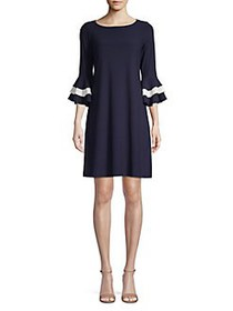 Gabby Skye Ruffled Shift Dress NAVY IVORY