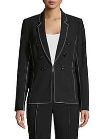 Donna Karan Embroidered Trim Button Blazer BLACK