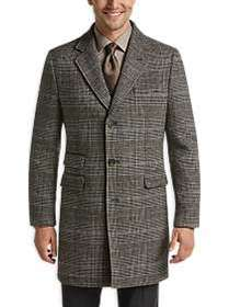 Joseph Abboud Brown Plaid Modern Fit Topcoat
