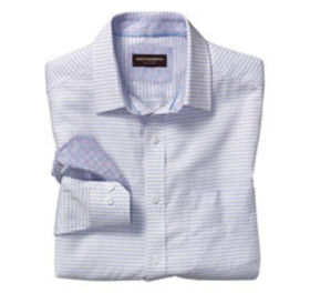 Johnston Murphy Raised Stripe Mini Check Shirt