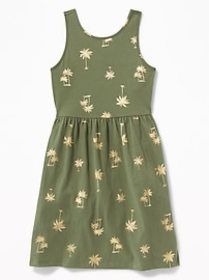 Patterned Jersey Fit & Flare Tank Dress for Girls