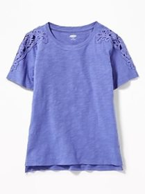 Relaxed Slub-Knit Lace-Shoulder Tee for Girls