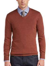 Joseph Abboud Deep Orange V-Neck Merino Wool Sweat