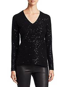 Saks Fifth Avenue Sequined Cashmere Sweater EBONY