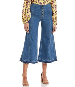 GB Western Button Front Crop Wide Leg Jeans