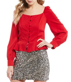 GB Long Sleeve Button Front Blouse