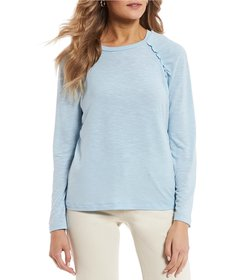 Copper Key Ruched Long Sleeve Knit Top