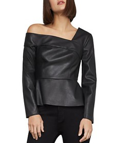 BCBGMAXAZRIA - One-Shoulder Faux-Leather Peplum To