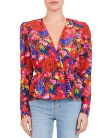 The Kooples - Summer Night Floral Silk Blouse