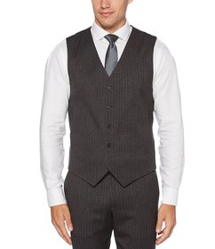 Perry Ellis Slim-Fit Heathered Stripe Stretch Suit