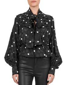 The Kooples - Shadow Dots Tie-Detail Blouse