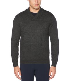 Perry Ellis Cable Knit Shawl Collar Sweater