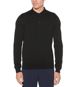 Perry Ellis Solid Long-Sleeve Polo Sweater
