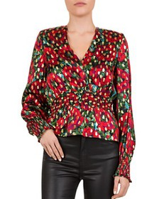 The Kooples - Giant Poppy Floral Smocked Blouse