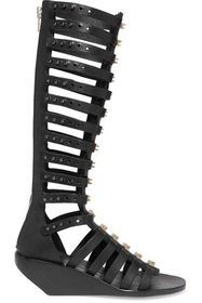 RICK OWENS Leather wedge gladiator sandals