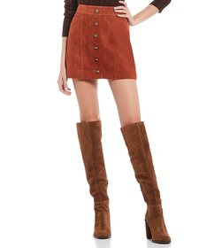 Gianni Bini Darcey Suede Button Front Skirt